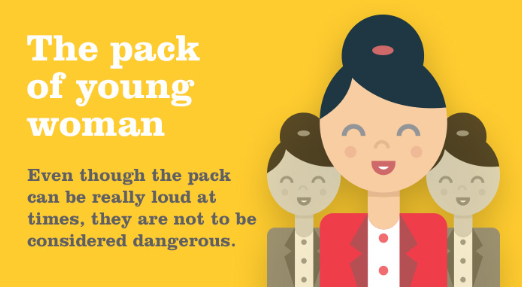 pack of young woman